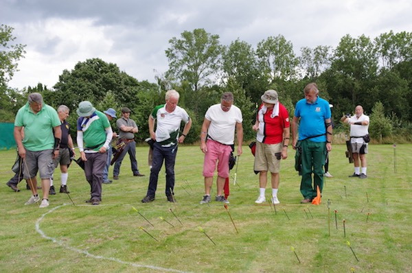 Archers scoring arrows at the Surrey Clout championships
